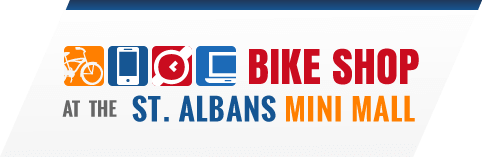 logo of bike shop at mini mall